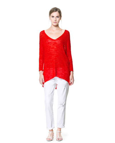 V Neck Oversized Sweater - neckline: low v-neck; pattern: plain; length: below the bottom; style: standard; predominant colour: true red; occasions: casual; fibres: viscose/rayon - 100%; fit: loose; back detail: longer hem at back than at front; sleeve length: long sleeve; sleeve style: standard; texture group: knits/crochet; pattern type: knitted - other; season: s/s 2013
