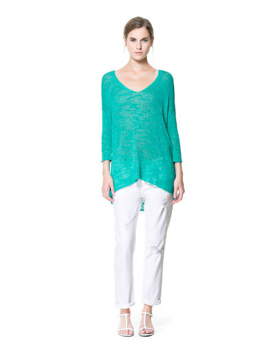 V Neck Oversized Sweater - neckline: low v-neck; pattern: plain; length: below the bottom; style: standard; predominant colour: turquoise; occasions: casual; fibres: viscose/rayon - 100%; fit: loose; back detail: longer hem at back than at front; sleeve length: 3/4 length; sleeve style: standard; texture group: knits/crochet; pattern type: knitted - other; season: s/s 2013