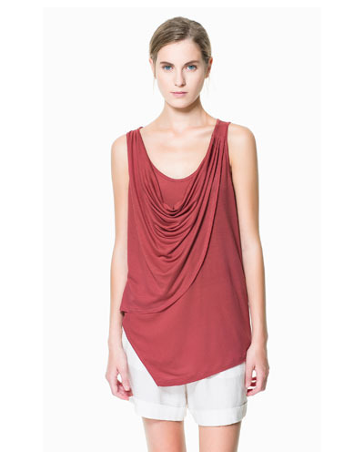 T Shirt With Draped Neckline - neckline: cowl/draped neck; pattern: plain; sleeve style: sleeveless; style: vest top; bust detail: subtle bust detail; predominant colour: burgundy; occasions: casual; length: standard; fibres: viscose/rayon - 100%; fit: loose; shoulder detail: subtle shoulder detail; sleeve length: sleeveless; pattern type: fabric; texture group: jersey - stretchy/drapey; season: s/s 2013; wardrobe: highlight