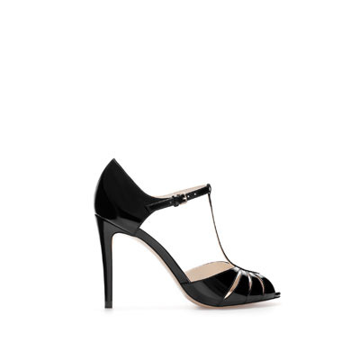 High Heel Shiny Shoe - predominant colour: black; occasions: evening, occasion; material: faux leather; heel height: high; heel: stiletto; toe: open toe/peeptoe; style: t-bar; finish: patent; pattern: plain; season: s/s 2013