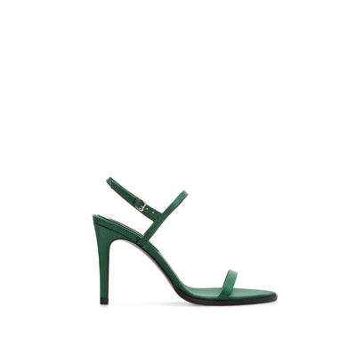 Green Silk Satin Sandal - predominant colour: emerald green; occasions: evening, occasion; material: satin; heel height: high; heel: stiletto; toe: open toe/peeptoe; style: strappy; finish: plain; pattern: plain; season: s/s 2013