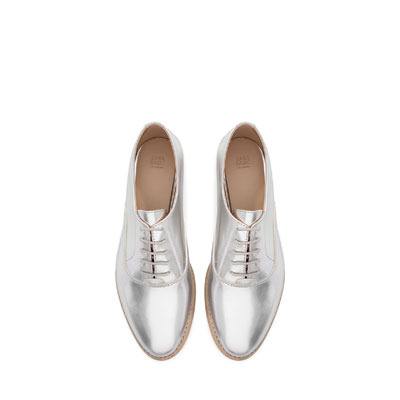Patent Blucher - predominant colour: silver; occasions: casual, evening, work; material: faux leather; heel height: flat; toe: round toe; finish: metallic; pattern: plain; style: lace ups; season: s/s 2013