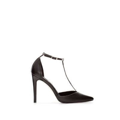 Pointed Leather Shoe With Ankle Strap - predominant colour: black; occasions: evening, work, occasion; material: leather; heel height: high; ankle detail: ankle strap; heel: stiletto; toe: pointed toe; style: t-bar; finish: plain; pattern: plain; trends: gothic romance; season: s/s 2013