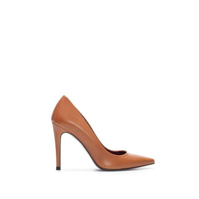 Leather Court Shoe - predominant colour: tan; occasions: evening, work, occasion; material: leather; heel height: high; heel: stiletto; toe: pointed toe; style: courts; finish: plain; pattern: plain; season: s/s 2013