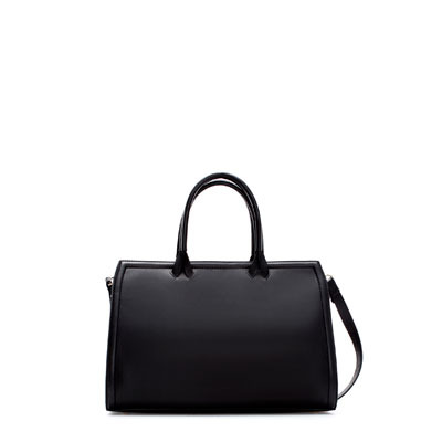 Basic Bowling Bag - predominant colour: black; occasions: casual, creative work; type of pattern: standard; style: bowling; length: handle; size: standard; material: faux leather; pattern: plain; finish: plain; season: s/s 2013