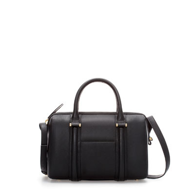 Rigid Mini Bowling Bag With Pocket - predominant colour: black; occasions: casual, work; type of pattern: standard; style: bowling; length: handle; size: small; material: faux leather; pattern: plain; finish: plain; season: s/s 2013