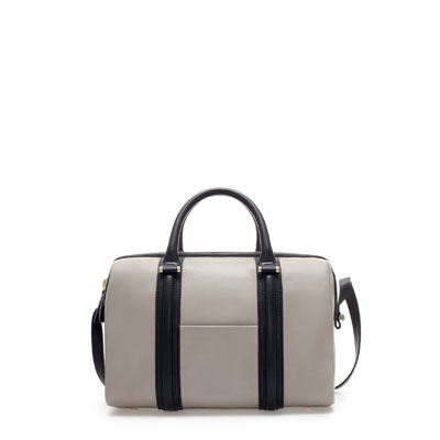 Structured Bowling Bag With Pocket - predominant colour: mid grey; secondary colour: black; occasions: casual, work; type of pattern: standard; style: bowling; length: handle; size: standard; material: faux leather; finish: plain; pattern: colourblock; season: s/s 2013