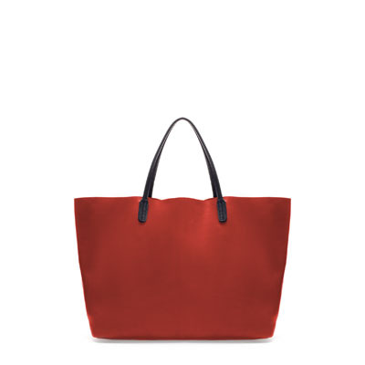 Coloured Leather Shopper - predominant colour: true red; occasions: casual, work; type of pattern: standard; style: tote; length: handle; size: standard; material: leather; pattern: plain; finish: plain; season: s/s 2013