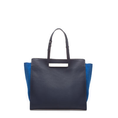 Shopper With Metallic Clasp - secondary colour: diva blue; predominant colour: navy; occasions: casual, work; type of pattern: standard; style: tote; length: shoulder (tucks under arm); size: standard; material: faux leather; finish: plain; pattern: colourblock; season: s/s 2013