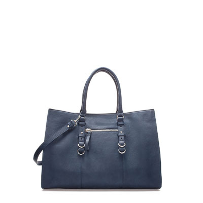 Shopper With Rings - predominant colour: navy; occasions: casual, work; type of pattern: standard; style: tote; length: handle; size: standard; material: faux leather; pattern: plain; finish: plain; season: s/s 2013