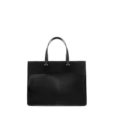Rectangular Shopper - predominant colour: black; occasions: casual, work; style: tote; length: shoulder (tucks under arm); size: standard; material: faux leather; pattern: plain; finish: plain; season: s/s 2013