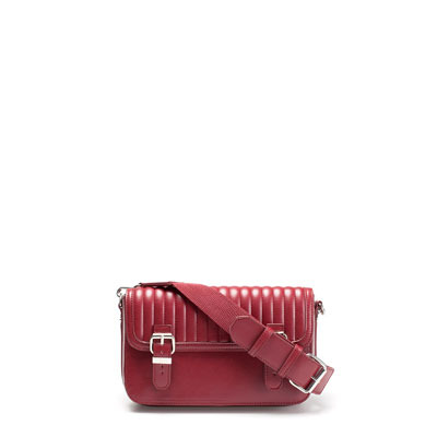 Quilted Messenger Bag - predominant colour: true red; occasions: casual; type of pattern: standard; style: messenger; length: across body/long; size: standard; material: faux leather; embellishment: quilted; pattern: plain; finish: patent; trends: broody brights; season: s/s 2013