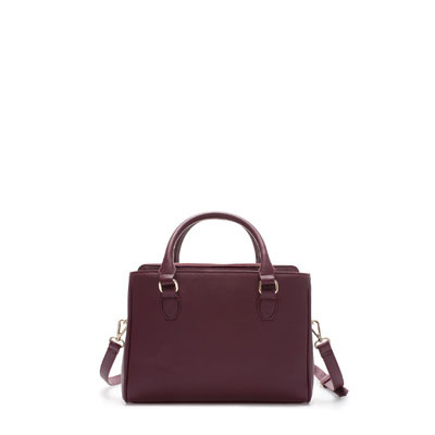 Mini Office City Bag - predominant colour: burgundy; occasions: casual, creative work; type of pattern: standard; style: tote; length: handle; size: standard; material: faux leather; pattern: plain; finish: plain; season: s/s 2013