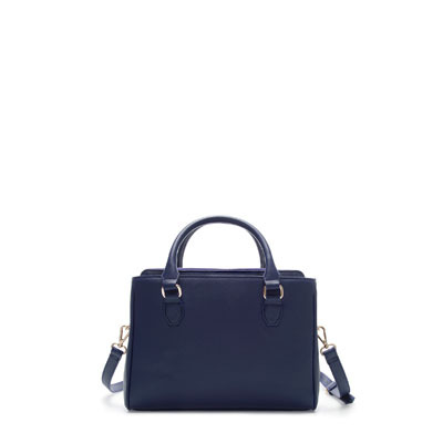 Mini Office City Bag - predominant colour: navy; occasions: casual, creative work; type of pattern: standard; style: tote; length: handle; size: standard; material: faux leather; pattern: plain; finish: plain; season: s/s 2013