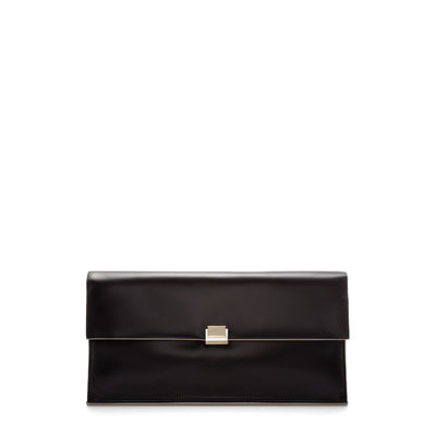 Clutch With Metallic Clasp - predominant colour: black; occasions: evening, work, occasion; type of pattern: standard; style: clutch; length: hand carry; size: standard; material: faux leather; pattern: plain; finish: plain; season: s/s 2013
