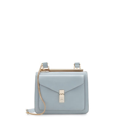 Messenger Bag With Metallic Fastener - predominant colour: pale blue; secondary colour: gold; occasions: casual, creative work; type of pattern: standard; style: messenger; length: across body/long; size: small; material: faux leather; pattern: plain; finish: plain; embellishment: chain/metal; season: s/s 2013