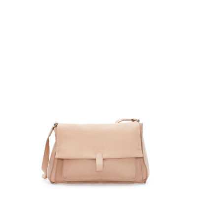 Leather Messenger Bag - predominant colour: nude; occasions: casual, creative work; type of pattern: standard; style: messenger; length: across body/long; size: standard; material: leather; pattern: plain; finish: plain; season: s/s 2013