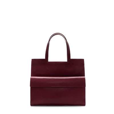 Structured Shopper With Pocket - predominant colour: burgundy; occasions: casual, work; style: tote; length: shoulder (tucks under arm); size: standard; material: leather; pattern: plain; finish: plain; trends: broody brights; season: s/s 2013