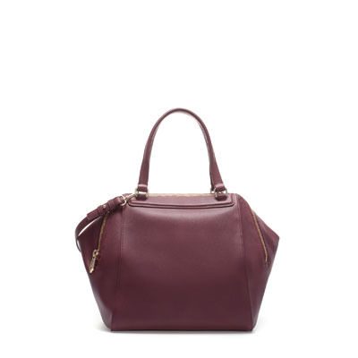 Double Zip Bowling Bag - predominant colour: burgundy; occasions: casual, work; type of pattern: standard; style: bowling; length: handle; size: standard; material: faux leather; pattern: plain; finish: plain; season: s/s 2013