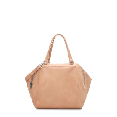 Double Zip Bowling Bag - predominant colour: stone; occasions: casual, work, occasion, holiday; type of pattern: standard; style: tote; length: handle; size: small; material: faux leather; pattern: plain; finish: plain; trends: 1940's hitchcock heroines; season: s/s 2013