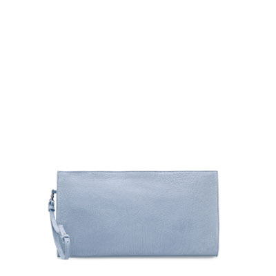 Nubuck Clutch Bag - predominant colour: pale blue; occasions: evening, occasion; type of pattern: standard; style: clutch; length: hand carry; size: standard; material: leather; pattern: plain; finish: plain; season: s/s 2013