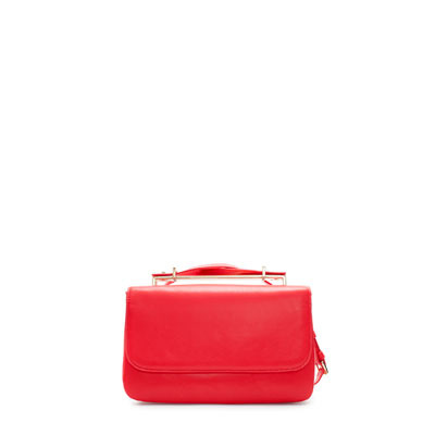 Messenger Bag With Metal Handle - predominant colour: true red; occasions: casual, work; type of pattern: standard; style: messenger; length: across body/long; size: small; material: faux leather; pattern: plain; finish: plain; season: s/s 2013