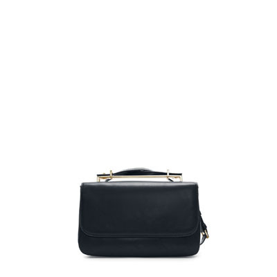 Messenger Bag With Metal Handle - predominant colour: navy; occasions: casual, evening, work, occasion; style: messenger; length: across body/long; size: standard; material: faux leather; pattern: plain; finish: plain; embellishment: chain/metal; season: s/s 2013