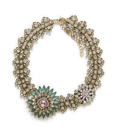 Crystal Flower Necklace - secondary colour: pistachio; predominant colour: gold; occasions: evening, occasion; length: short; size: large/oversized; material: chain/metal; finish: plain; embellishment: crystals/glass; style: bib/statement; season: s/s 2013