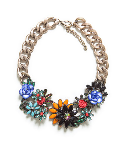 Jewelled Flowers Necklace - occasions: evening, occasion; predominant colour: multicoloured; length: short; size: large/oversized; material: chain/metal; finish: plain; embellishment: crystals/glass; style: bib/statement; season: s/s 2013; multicoloured: multicoloured