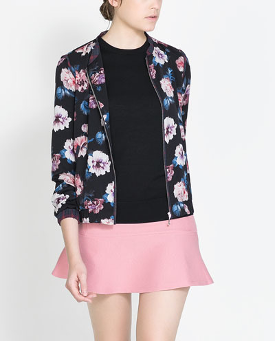 Floral Print Jacket - collar: round collar/collarless; style: bomber; secondary colour: black; occasions: casual; length: standard; fit: straight cut (boxy); fibres: polyester/polyamide - 100%; predominant colour: multicoloured; sleeve length: long sleeve; sleeve style: standard; collar break: high/illusion of break when open; pattern type: fabric; pattern: florals; texture group: other - light to midweight; trends: playful prints; season: s/s 2013; pattern size: big & busy (top); multicoloured: multicoloured