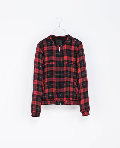 Checked Jacket - pattern: tartan; collar: round collar/collarless; style: bomber; predominant colour: true red; secondary colour: black; occasions: casual, evening; length: standard; fit: straight cut (boxy); fibres: polyester/polyamide - 100%; sleeve length: long sleeve; sleeve style: standard; collar break: high; pattern type: fabric; pattern size: standard; texture group: other - light to midweight; trends: gorgeous grunge; season: s/s 2013