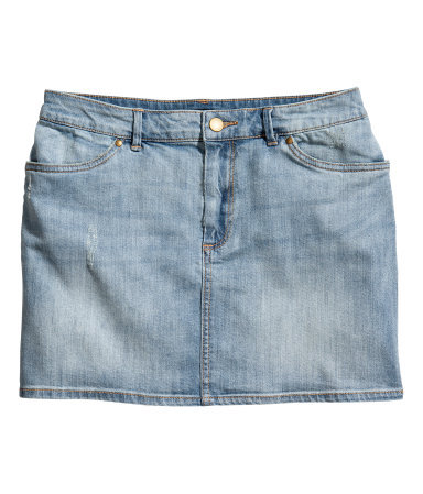 Denim Skirt - length: mini; pattern: plain; style: straight; waist: mid/regular rise; predominant colour: denim; occasions: casual, holiday; fibres: cotton - stretch; texture group: denim; fit: straight cut; pattern type: fabric; season: s/s 2013