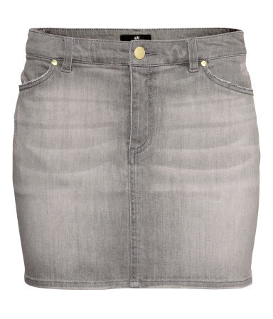 Denim Skirt - length: mini; pattern: plain; style: straight; waist: mid/regular rise; predominant colour: mid grey; occasions: casual, holiday; fibres: cotton - stretch; texture group: denim; fit: straight cut; pattern type: fabric; season: s/s 2013