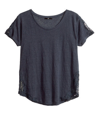 Linen Top - neckline: round neck; pattern: plain; style: t-shirt; predominant colour: charcoal; occasions: casual; length: standard; fibres: linen - 100%; fit: loose; sleeve length: short sleeve; sleeve style: standard; texture group: linen; pattern type: fabric; embellishment: lace; season: s/s 2013