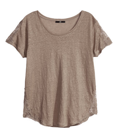 Linen Top - pattern: plain; style: t-shirt; predominant colour: taupe; occasions: casual, holiday; length: standard; neckline: scoop; fibres: linen - 100%; fit: loose; sleeve length: short sleeve; sleeve style: standard; texture group: linen; pattern type: fabric; season: s/s 2013