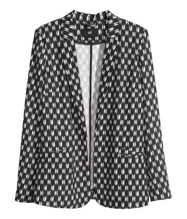 Jacket - style: single breasted blazer; length: below the bottom; collar: standard lapel/rever collar; secondary colour: white; predominant colour: black; occasions: casual, evening, work; fit: straight cut (boxy); fibres: polyester/polyamide - stretch; sleeve length: long sleeve; sleeve style: standard; collar break: medium; pattern type: fabric; pattern size: standard; pattern: patterned/print; texture group: woven light midweight; trends: masculine feminine; season: s/s 2013