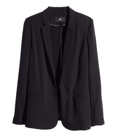 Jacket - pattern: plain; style: single breasted blazer; length: below the bottom; collar: standard lapel/rever collar; predominant colour: black; occasions: casual, evening, work; fit: straight cut (boxy); fibres: polyester/polyamide - stretch; sleeve length: long sleeve; sleeve style: standard; collar break: low/open; pattern type: fabric; texture group: woven light midweight; season: s/s 2013
