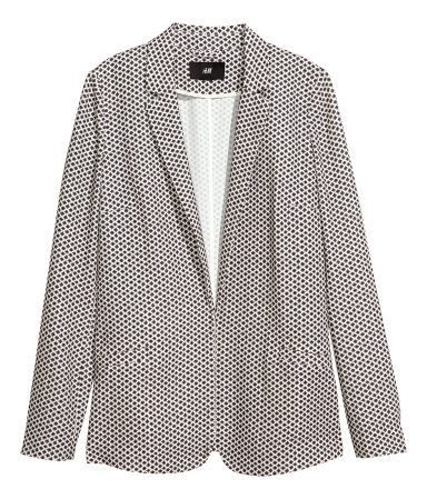 Jacket - style: single breasted blazer; fit: loose; length: below the bottom; collar: standard lapel/rever collar; secondary colour: white; predominant colour: black; occasions: casual, evening, work; fibres: polyester/polyamide - stretch; sleeve length: long sleeve; sleeve style: standard; collar break: low/open; pattern type: fabric; pattern size: standard; pattern: patterned/print; texture group: woven light midweight; trends: playful prints, masculine feminine; season: s/s 2013