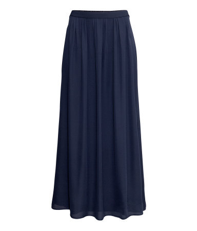 Maxi Skirt - pattern: plain; length: ankle length; fit: loose/voluminous; waist: mid/regular rise; predominant colour: navy; occasions: casual, evening, holiday; style: maxi skirt; fibres: polyester/polyamide - 100%; hip detail: subtle/flattering hip detail; texture group: sheer fabrics/chiffon/organza etc.; pattern type: fabric; season: s/s 2013