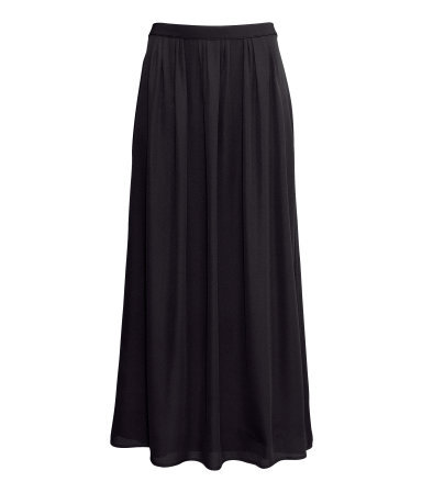 Maxi Skirt - pattern: plain; fit: loose/voluminous; waist detail: elasticated waist; waist: mid/regular rise; predominant colour: black; occasions: casual, evening, holiday; length: floor length; style: maxi skirt; fibres: polyester/polyamide - 100%; hip detail: subtle/flattering hip detail; texture group: sheer fabrics/chiffon/organza etc.; pattern type: fabric; season: s/s 2013; wardrobe: basic