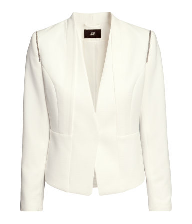 Short Jacket - pattern: plain; style: single breasted blazer; collar: round collar/collarless; predominant colour: ivory/cream; occasions: casual, evening, work, occasion; length: standard; fit: tailored/fitted; fibres: polyester/polyamide - mix; shoulder detail: added shoulder detail; sleeve length: long sleeve; sleeve style: standard; collar break: low/open; pattern type: fabric; texture group: woven light midweight; season: s/s 2013