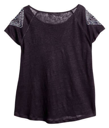 + Top - neckline: round neck; pattern: plain; predominant colour: black; occasions: casual, holiday; length: standard; style: top; fibres: polyester/polyamide - mix; fit: loose; shoulder detail: added shoulder detail; sleeve length: short sleeve; sleeve style: standard; pattern type: fabric; texture group: jersey - stretchy/drapey; embellishment: beading; season: s/s 2013