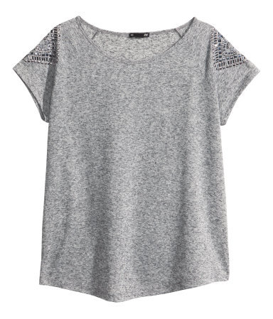 + Top - neckline: round neck; pattern: plain; predominant colour: mid grey; occasions: casual, holiday; length: standard; style: top; fibres: polyester/polyamide - mix; fit: loose; shoulder detail: added shoulder detail; sleeve length: short sleeve; sleeve style: standard; pattern type: fabric; texture group: jersey - stretchy/drapey; embellishment: beading; season: s/s 2013
