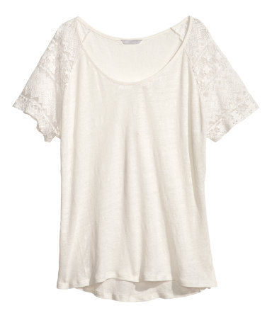+ Linen Top - pattern: plain; style: t-shirt; predominant colour: ivory/cream; occasions: casual, holiday; length: standard; neckline: scoop; fibres: linen - 100%; fit: loose; sleeve length: short sleeve; sleeve style: standard; texture group: linen; pattern type: fabric; embellishment: lace; season: s/s 2013