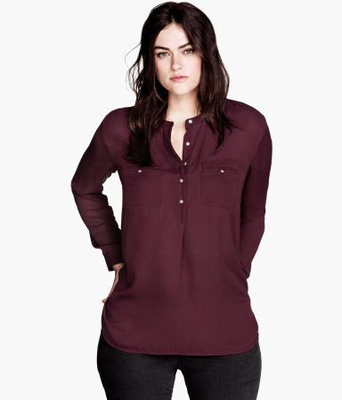 + Blouse - neckline: shirt collar/peter pan/zip with opening; pattern: plain; style: blouse; predominant colour: burgundy; occasions: casual; length: standard; fibres: polyester/polyamide - 100%; fit: straight cut; sleeve length: long sleeve; sleeve style: standard; texture group: crepes; pattern type: fabric; trends: broody brights; season: s/s 2013
