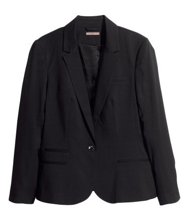 + Jacket - pattern: plain; style: single breasted blazer; collar: standard lapel/rever collar; predominant colour: black; occasions: casual, evening, work; length: standard; fit: tailored/fitted; fibres: polyester/polyamide - mix; sleeve length: long sleeve; sleeve style: standard; collar break: low/open; pattern type: fabric; texture group: woven light midweight; season: s/s 2013