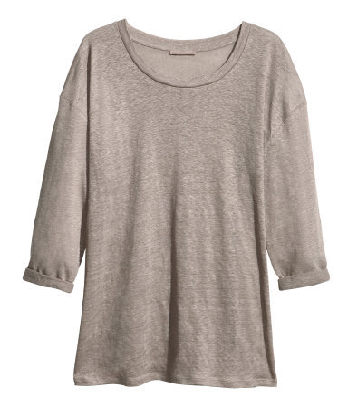 + Linen Top - neckline: round neck; pattern: plain; style: t-shirt; predominant colour: taupe; occasions: casual; length: standard; fibres: linen - 100%; fit: loose; sleeve length: 3/4 length; sleeve style: standard; texture group: linen; pattern type: fabric; season: s/s 2013