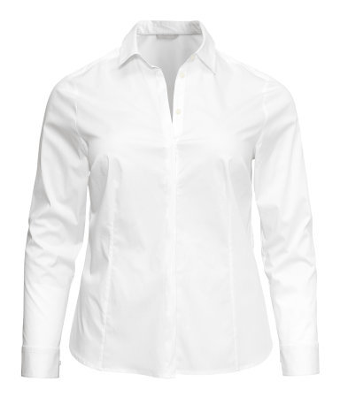 + Shirt - neckline: shirt collar/peter pan/zip with opening; pattern: plain; style: shirt; predominant colour: white; occasions: casual, work; length: standard; fibres: cotton - stretch; fit: tailored/fitted; sleeve length: long sleeve; sleeve style: standard; texture group: cotton feel fabrics; pattern type: fabric; season: s/s 2013