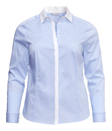+ Shirt - neckline: shirt collar/peter pan/zip with opening; pattern: plain; style: shirt; secondary colour: white; predominant colour: pale blue; occasions: casual, work; length: standard; fibres: cotton - mix; fit: tailored/fitted; sleeve length: long sleeve; sleeve style: standard; texture group: cotton feel fabrics; pattern type: fabric; season: s/s 2013