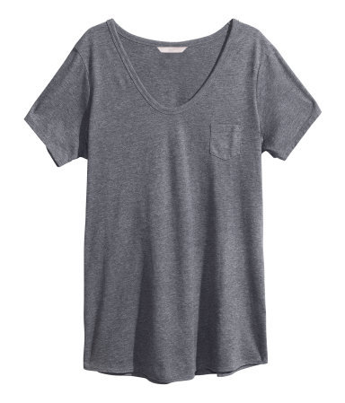 + Short Sleeved Top - pattern: plain; style: t-shirt; bust detail: pocket detail at bust; predominant colour: mid grey; occasions: casual, holiday; length: standard; neckline: scoop; fibres: cotton - mix; fit: body skimming; sleeve length: short sleeve; sleeve style: standard; pattern type: fabric; texture group: jersey - stretchy/drapey; season: s/s 2013